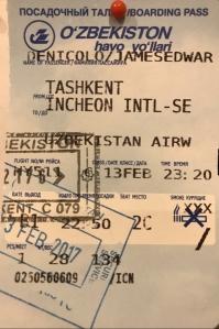 Boarding Pass Tashkent to Seoul